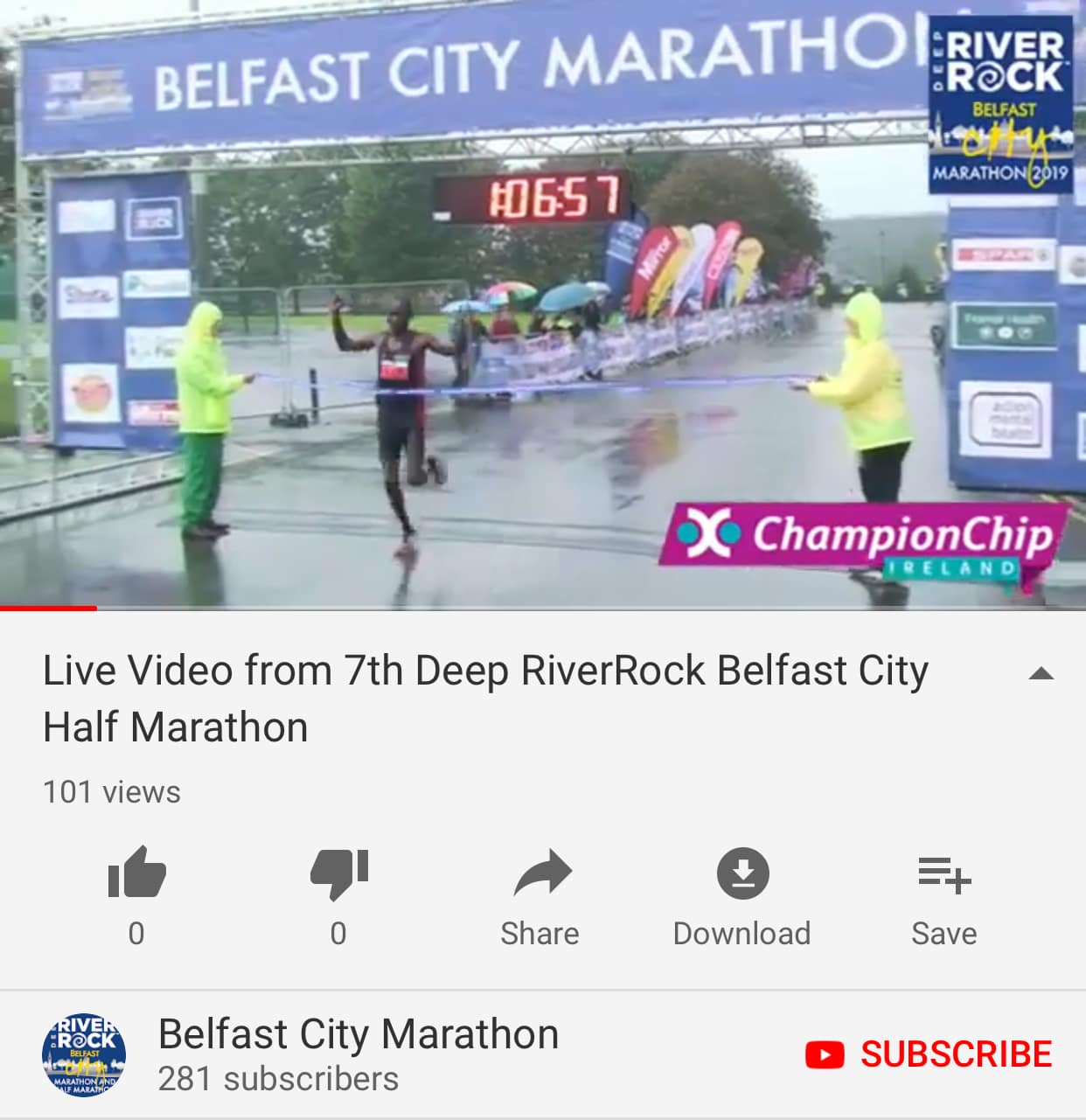 Facebook Live Finish Area Video available on YouTube
